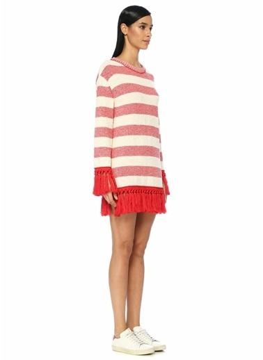 Philosophy Di Lorenzo Serafini Çizgili Püsküllü Mini Triko Elbise Kırmızı